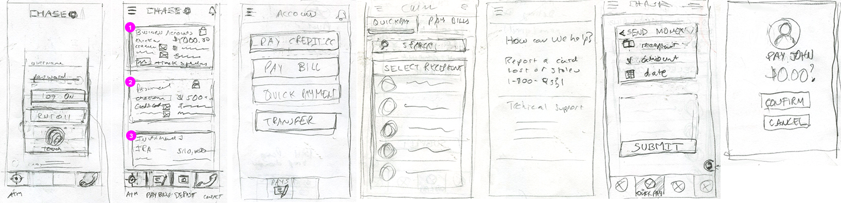 Chase wireframe sketches